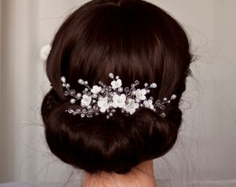 Bridal hair comb, Wedding hair comb, Bridal Flowers comb, Wedding Haeadpiece, Bridal headpiece, Wedding Flower comb Wedding flower headpiece