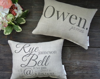 Double Sided Birth Announcement Pillow, Personalized Name Pillow, Baby Shower Gift, Personalized Baby pillow, Nursery Pillow, Linen Baby