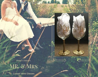 Custom Mr & Mrs Wine Glasses Set -Glitter Stems and Many Color Options - Bridal Gift - Bride and Groom