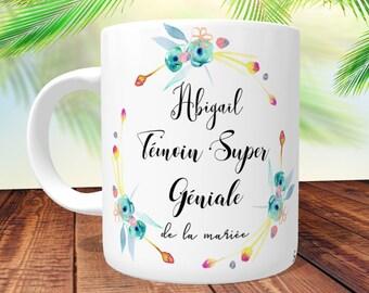 MUG Témoin Super Génial - Floral Jaune- personnalisé Recto/Verso, mug personnalisé,tasse témoin,mug témoin,cadeau témoin, mug témoin mariage