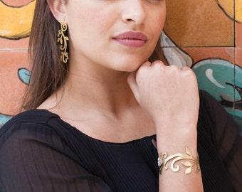 Arabesque bracelet, plant bracelet, vegetal bracelet, brass bracelet, ribbon bracelet, brass jewelry, arabesque jewelry, plant jewelry