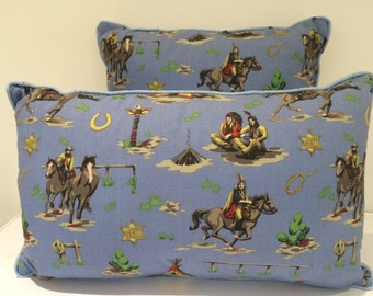 Nostalgic 1950s 1960s Cowboy and Indian fabric cushion pillow cover