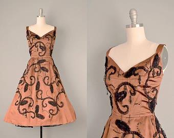 50s Dress // 1950's Copper Silk Satin dress w/ Jet Beading and Lace Appliqué  // XS