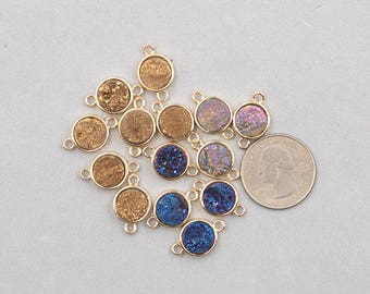 Round Druzy Connectors -- Druzzy Drusy With Electroplated Gold Edge Charms Wholesale Supplies dainty YHA-306