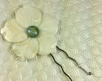 White and Green Marble Plumeria Mother of Pearl Flower Bobby Pin