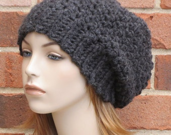 Womens Slouchy Hat - Slouchy Beret Hat - Black Slouchy Beanie Hat - Winter Accessories - Womens Slouchy Beret  // THE ROWAN //