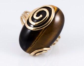 9ct Yellow Gold Tiger's Eye Large Dress Ring