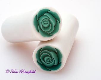 Green Rose Polymer Clay Cane, Raw polymer Clay Cane, Millefiori Polymer Clay