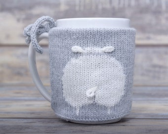 Animal lover gift, Knitted light gray coffee cozy, Mug sweater,  Sheep butt, Party favor, Tea sleeve,  Cup warmer, Hot drink cosy