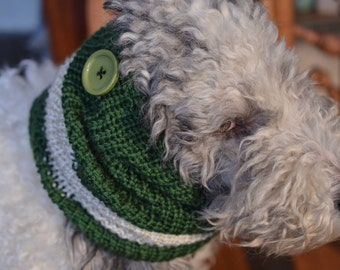 "Knit Dog Scarf/Cowl  Green and Cream  Size Medium -  16 Circumference by 17"" long  Fits a dog with up to 20"" Neck - Dog Clothing"