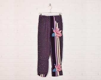 Vintage 80s Harem Pants Draped Pants Skinny Pants High Waist Pants Floral Pants Floral Print Pants Boho Pants Hippie Pants Purple M Medium