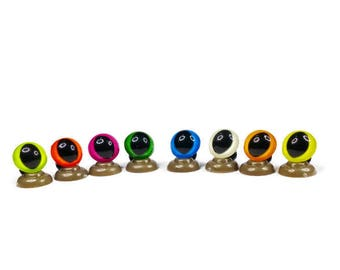 12mm Cat - 16 Colours Cat/Dragon Safety Eyes,High quality coloured Teddy Bear Safety Eyes come complete with push plastic washers.