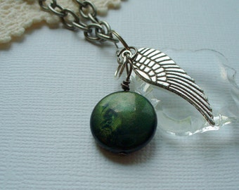 Crystal Pendant Necklace,  Charm Necklace, Wing Necklace,Green Bead Pendant Necklace, Silver Chain Necklace, Handmade, Vintage, MarjorieMae