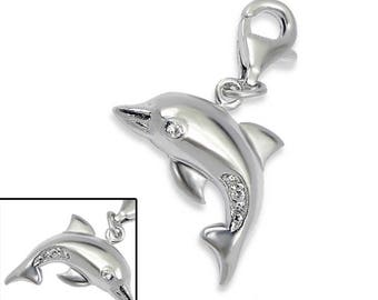 3D CZ Dolphin Beach Nautical Charm with Lobster Clasp 925 Sterling Silver - CH2720