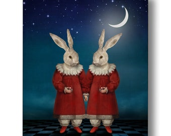 Twin White Rabbits Moon Portrait Print Digital Art Surreal Home Decor Bunny Hare Moonlight Red Dress