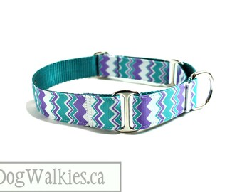 "Lavender Teal Chevron - Zig Zag Dog Collar - 1"" (25mm) Wide - Choice of collar style and size - Martingale Dog Collar or Quick Side Release"