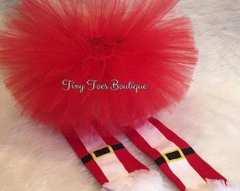 Handmade Girls santa Tutu leg warmer set