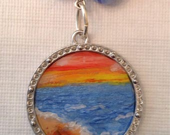 Beach sunset necklace and earrings