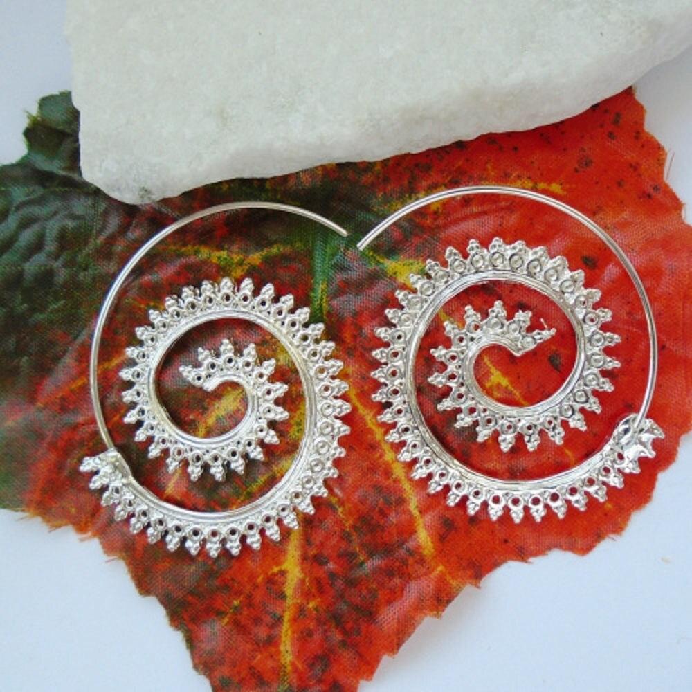 Earring earrings tribal spiral Creole hippie Boho Goa