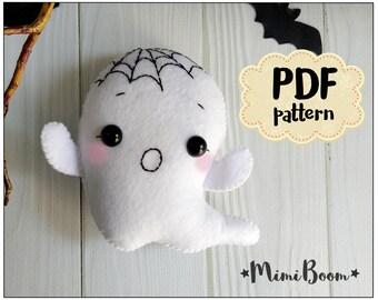 Halloween ghost pattern Halloween ornament tutorial Ghost Felt halloween pattern Ghost DIY ornament Halloween plushies Easy pattern Ghost