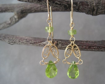 Peridot Earrings - Semi Precious - Earrings - August Birthstone - Birthstone Jewelry -Filagree Earrings- Gold- Green - Dangle - Drops - Gold