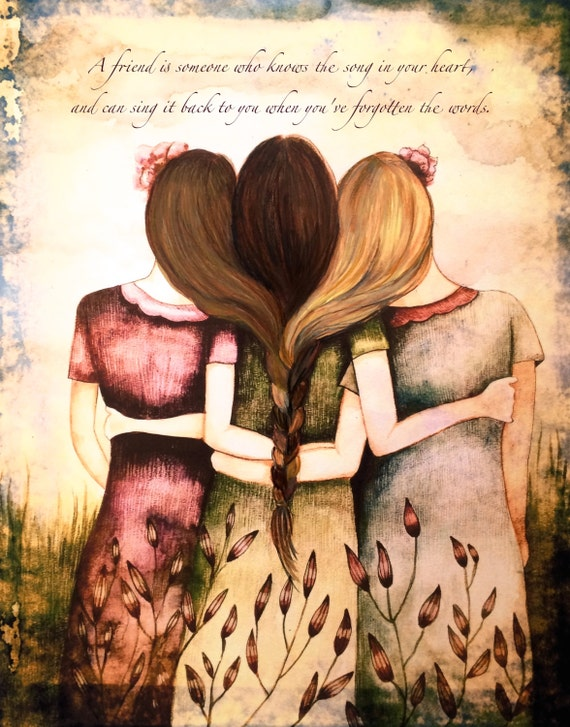 Tree sisters vintage  art print with quote or with out