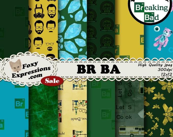 BR BA digital paper inspired by Breaking Bad. Designs include Walter White, Crystal, Bear missing eye, Smoke, Undies, Science, Camper & more