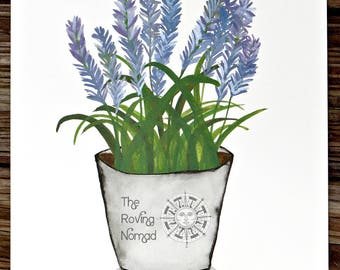 Watercolor Potted Herb Series // Custom Prints // Cilantro // Lavender // Rosemary // Sage // Mint