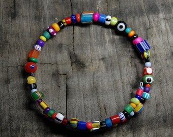 multi-bright spring wire seed bead bracelet