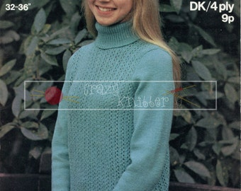 Teenage Polo Jumper 12-16 years 4ply DK Sirdar 4195 Vintage Knitting Pattern PDF instant download