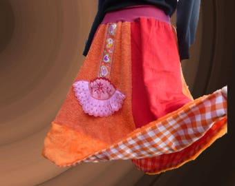 Full skirt orange and red velvet and faux fur