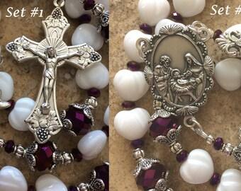 Christmas Catholic Rosary, White Heart Preciosa Czech Rosary, Nativity Rosary, Catholic 5 Decade Rosary, White and Purple Rosary
