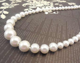 Very Simple and Classic, One Strand Embossing Look White Glass Pearl Necklace