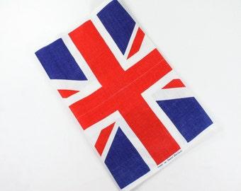 Vintage UK Flag Towel - United Kingdom Union Jack - Richard Douglas Design Red, White, Blue - Novelty Souvenir Dish Tea Towel Irish Linen