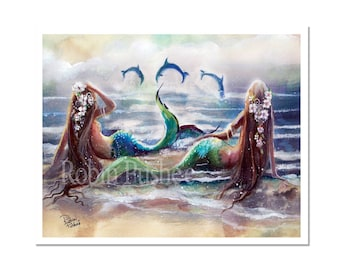 Mermiads and Dolphins, Large Art Print