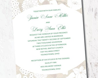 Wedding Invitation Formal Tan and Green
