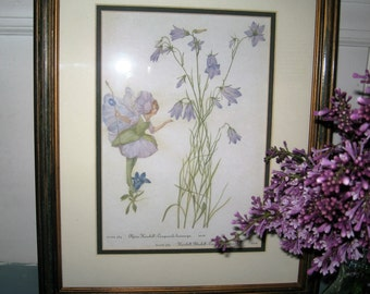 Garden Fairy Framed Botanical Print - Fairy and Campanula and Bluebell Garden Print - Bluebell and Campanula Garden Fairy Print