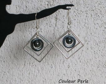 Earrings, hematite stone beads, silver rings, round, square