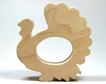 Thanksgiving Wooden Turkey Teether for Infants and Toddlers - Organic Wooden Teether - Wooden Teether Animal - Wooden Teether Turkey