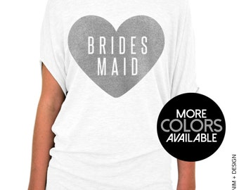 Bridesmaid Shirt - Heart Collection, Off the shoulder, Slouchy Tee, Bridal Party, Wedding clothing, Bachelorette, Womens Clothing