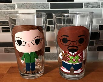 Funko POP theme custom hand painted pint glasses, beer glasses, set of 2