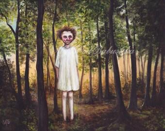 Fye, Print, Ghost, Wraith, Fetch, Dark Forest, Mask, Macabre Art, White Dress, Fairy Tale, Folk Lore, Spooky Art, Dark Woods, Scary