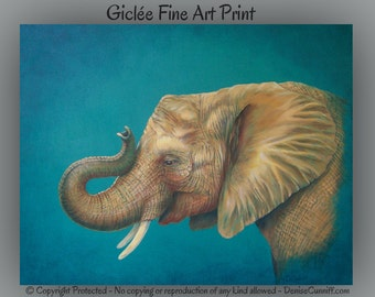 Elephant wall art, Gold, yellow & turquoise decor, Brown turquoise, Elephant artwork, Original art elephant, Large print, African home decor