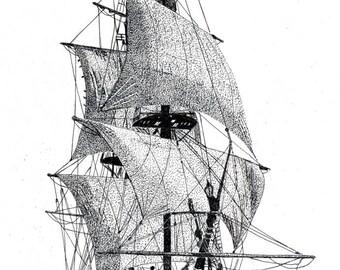 Greeting Card - Pen & Ink Drawing, A5 - Sailing Ship