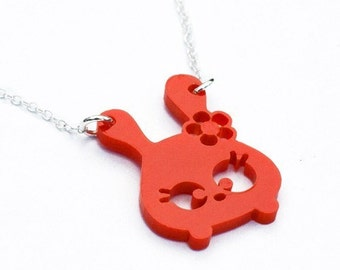 Tumsy the bunny necklace  Red laser cut acrylic jewelry rabbit