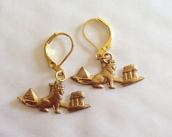Egyptian Sphinx Pyramid Tomb and Temple handmade raw brass earrings for pierced ears nickel free