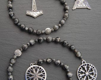 Heathen / Asatru / Viking / Norse Prayer Beads/Ladder. Vegvisir and Aegishjalmr/Helm of Awe or Thor's Hammer and Odin's Knot. Larvikite