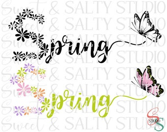 spring floral butterfly (2 versions included) digital file
