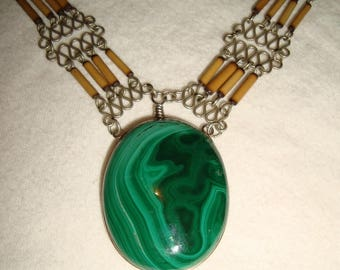 "necklace ""Indian spirit"" Malachite"