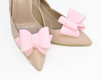 Pink 3D Bows Shoe Clips Wedding Bridal Shoe Accessories